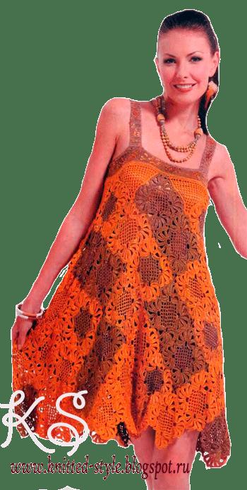 Летнее платье из квадратных мотивов