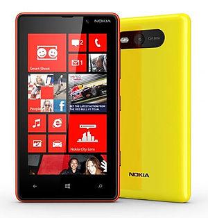 Nokia Lumia 820 yellow Wp 8 smartphone