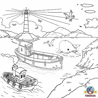 Harbour of Sodor Bulstrode barge and Tugboat Sea rescue Misty Island Thomas the train coloring pages