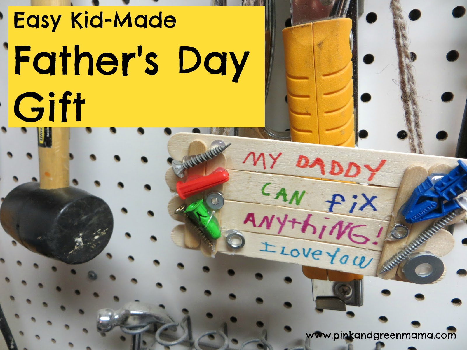 Mama easy kid made father s day gift popsicle stick fix it sign