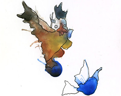 watercolor ink blot monster drawings