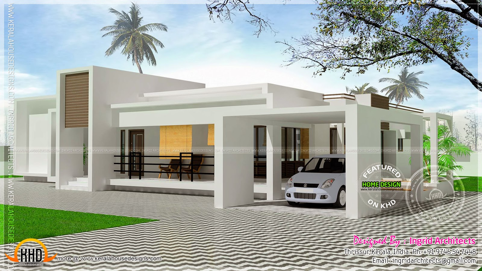 Contemporary single storied luxury home kerala home for Single floor house plans