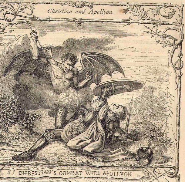 """Apollyon luchando contra un cristiano, de acuerdo al libro """"El progreso del peregrino"""" de John Bunyan."""
