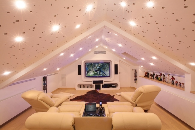 Home Theater Design Ideas home theater with tiered seating Home Theater Design Ideas In Attic Room Ceiling