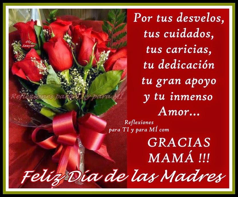 Por tus desvelos, tus cuidados, tus caricias, tu dedicación, tu gran apoyo y  tu inmenso AMOR...  GRACIAS MAMÁ !!!  Feliz Día de las Madres