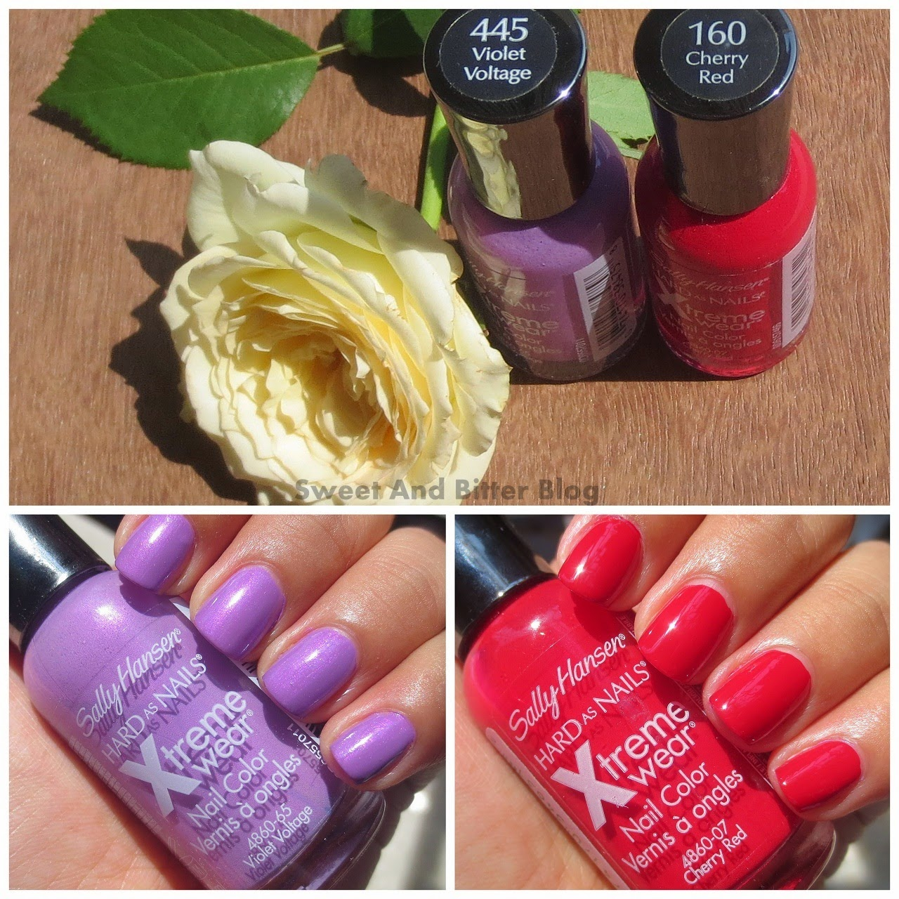 Sally Hansen Violet Voltage and Cherry Red