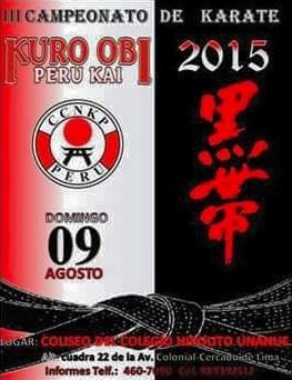 "III CAMPEONATO DE KARATE  ""Kuroobi Perú Kai 2015""  Lima-Perù"