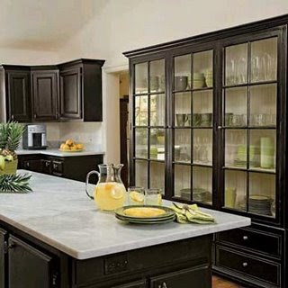 Horse country chic black kitchens for Black country kitchen cabinets