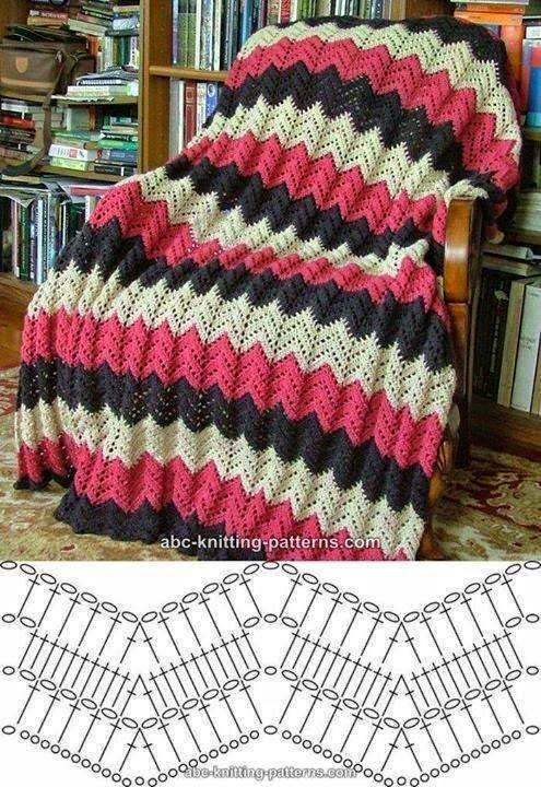 Manta al crochet con motivo chevron con diagrama - Mantas de punto a dos agujas ...