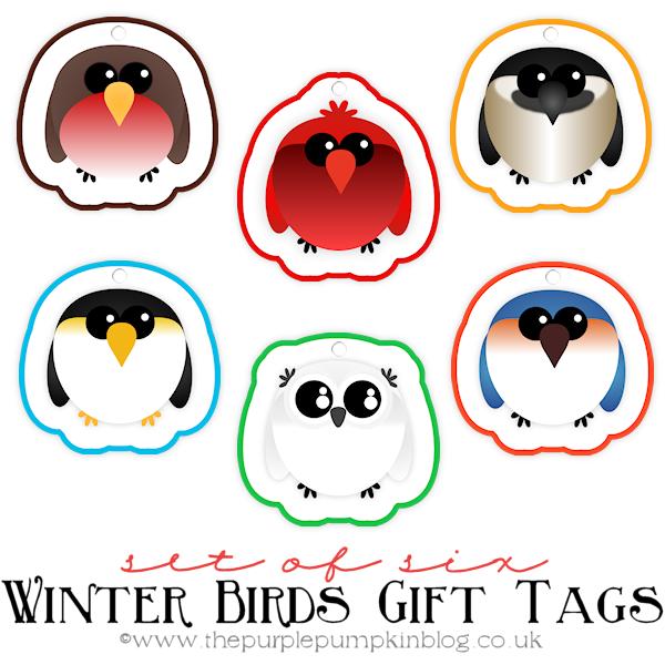 Set of 6 Winter Bird Christmas Gift Tags [Free Printable]