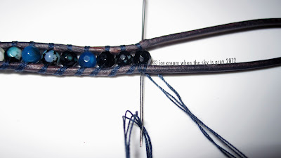 DIY: How To Make Chan Luu Wrap Bracelet (Women's Style) Dark Blue Fire Agate Mix Wrap Bracelet On Natural Dark Blue Leather Silk Thread Blue Agate Onyx 2.125inch Big Eye Needle