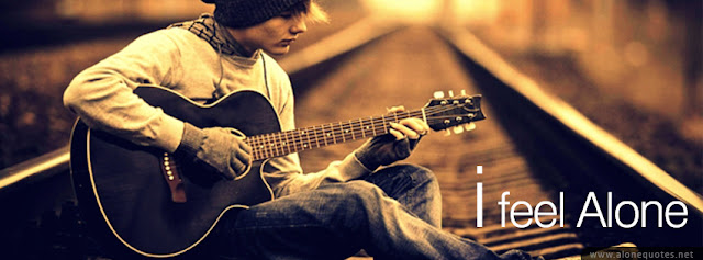 facebook cover photo, alone boy playing guitar on rail way