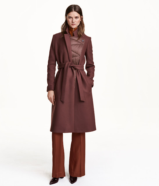 hm burgundy midi coat,