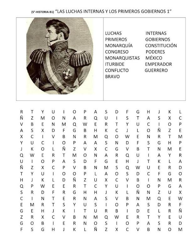 Sopa de letras luchas internas y primeros gobiernos