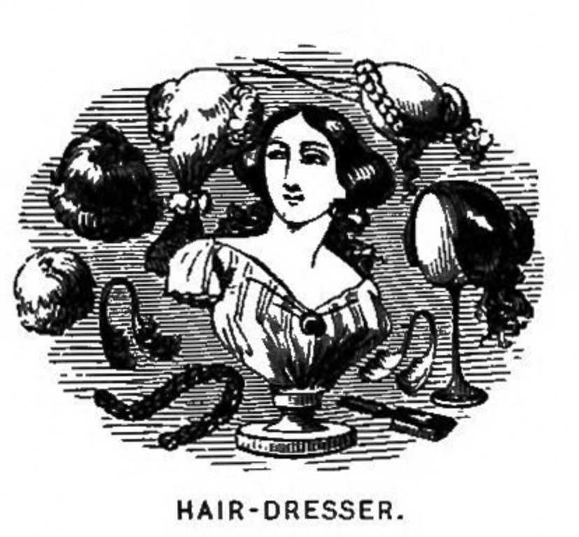 Vintage Hair dresser logo public domain black and white Victorian hair styles image