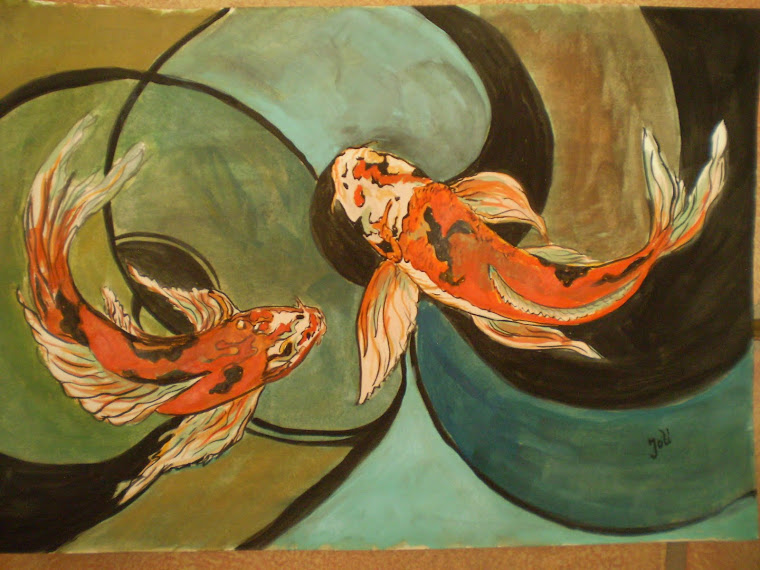 Koi fish in abstract, watercolor, signed Joli, A4