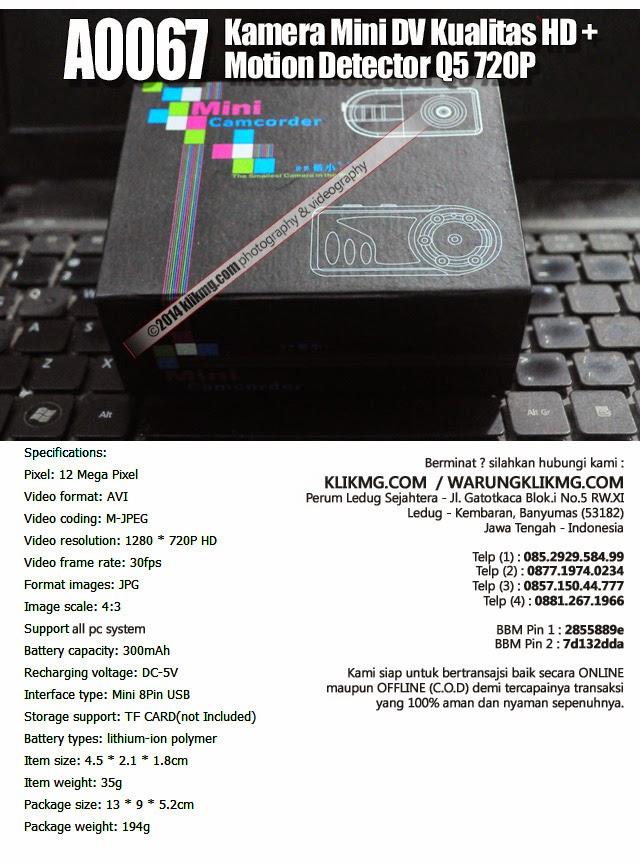 Kamera Mini DV Kualitas HD + Motion Detector Q5 720P - Kode Barang : A0067 | klikmg fotografer Indonesia