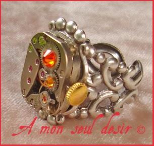Bague Steampunk argenté mouvement de montre mécanique mécanisme ClockWork Watch Work ring Jewellery Cyclotron