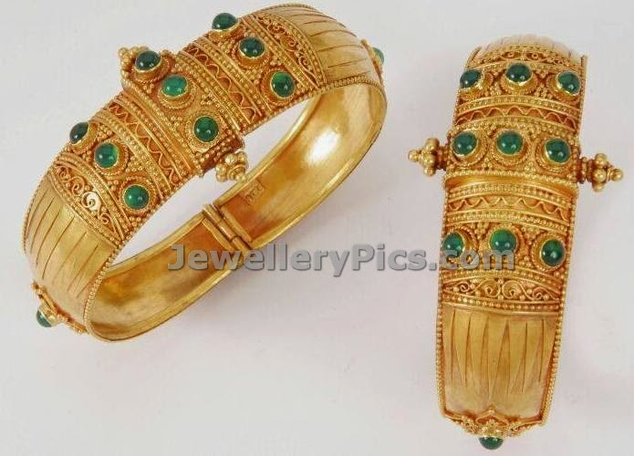 temple gold kada emeralds studded antique design by swapna jewels