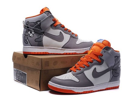 Pedo bear nike dunks with orange grey color, with a pedo bear pictures ...