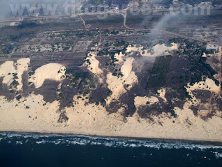 Vista aérea das dunas entre as praias da Caueira e Abaís, em Sergipe