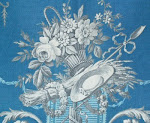 Antique French toile - en grisaille on vivid blue