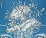 Antique French toile - en grisaille on vivid blue