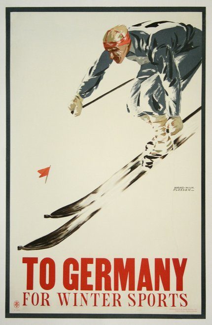 classic posters, free download, graphic design, retro prints, skiing, sports, travel, travel posters, vintage, vintage posters, To Germany for Winter Sports - Vintage Skiing Travel Poster