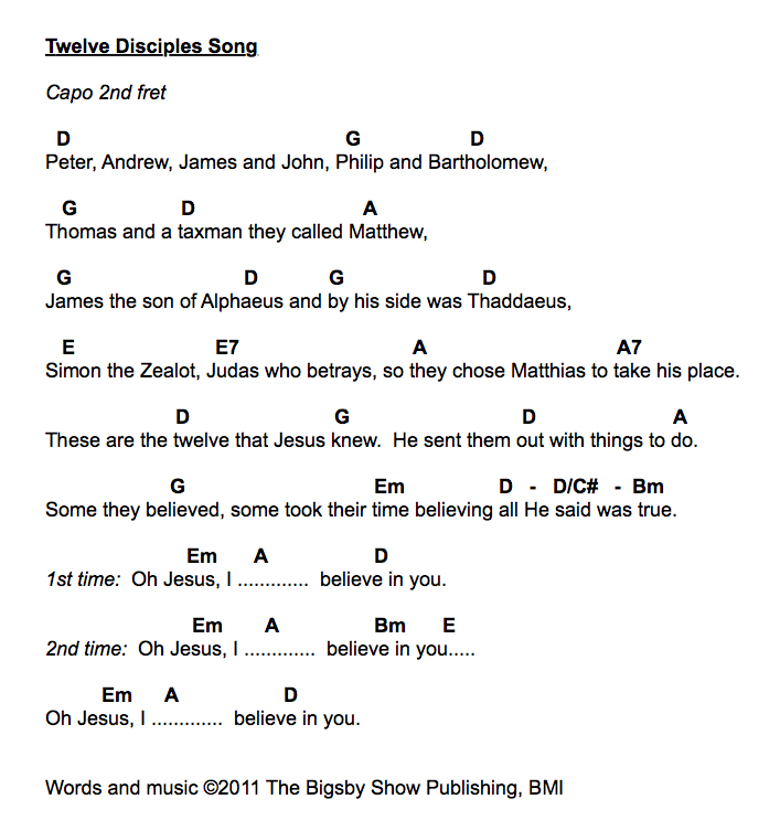 Guitar guitar lyrics : Bigsby News: 12 Disciples Song Guitar Chords