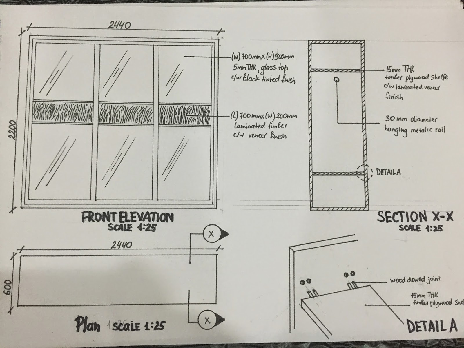 Wardrobe Plan Elevation Section : Detailing and working drawings april