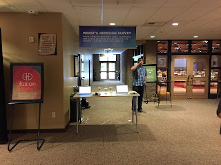Picture of the Survey Kiosk set up near the south entrance of the church.