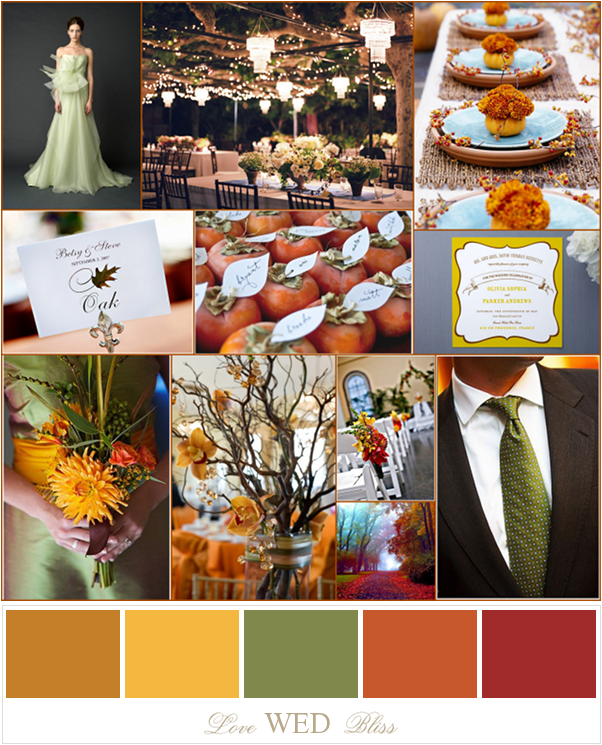 Orange color palette wedding