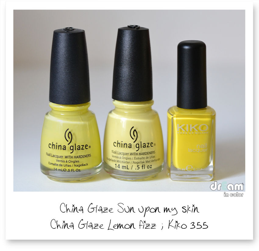 China Glaze Sun upon my skin comparaison
