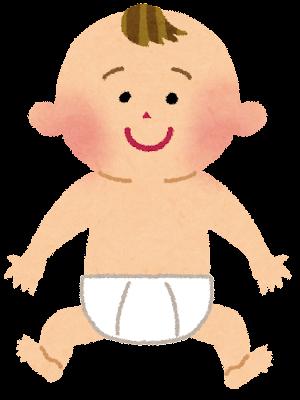 おむつの赤ちゃんのイラスト
