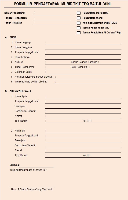 Contoh Formulir Pendaftaran  New Style for 2016-2017