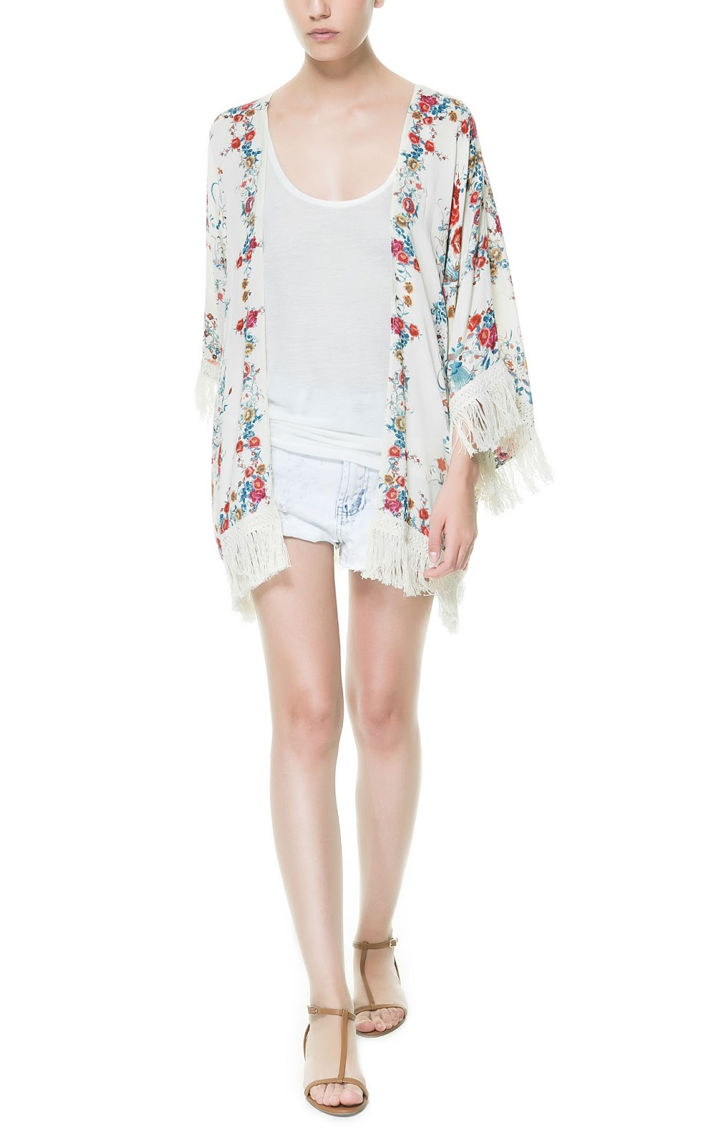ZARA NEW COLLECTION 2013. FLORAL JACKET KIMONO WITH ...
