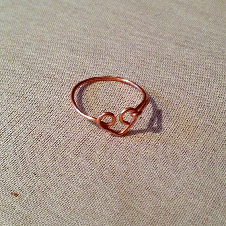 wire wrapped heart ring for Valentine's Day