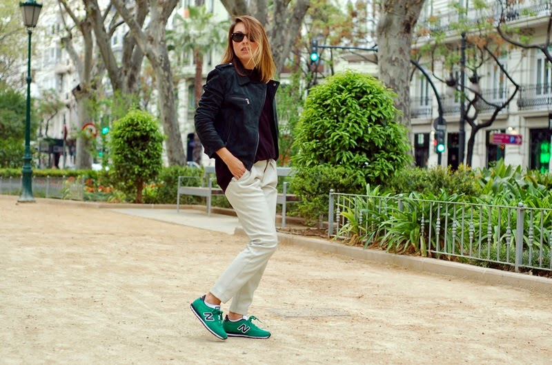 white leather green new balance street style littledreamsbyr