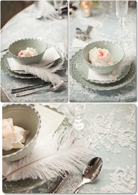 enkel dukning till bröllop, vintage dukning