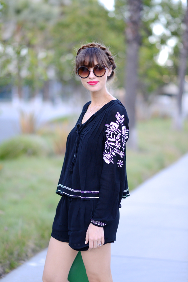 revolve clothing embroidered blouse with black cynthia vincent shorts M Loves M @marmar
