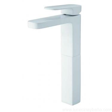 Grifo baño blanco lavabo alto