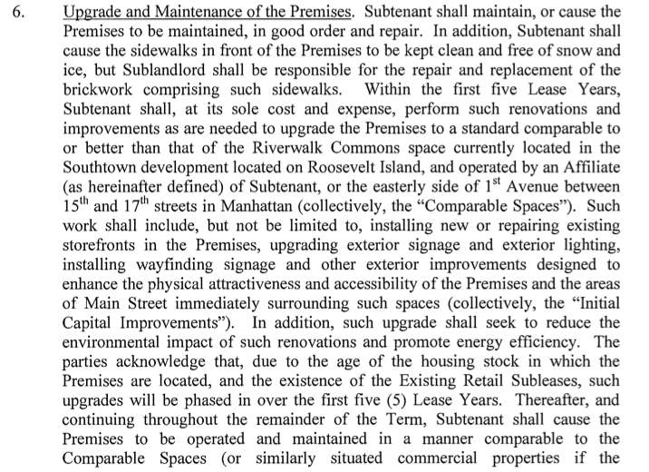 ... Master Leasehold Agreement Between The Roosevelt Island Operating Corp  (RIOC) And Hudson/Related. Here Are Some Key Provisions.