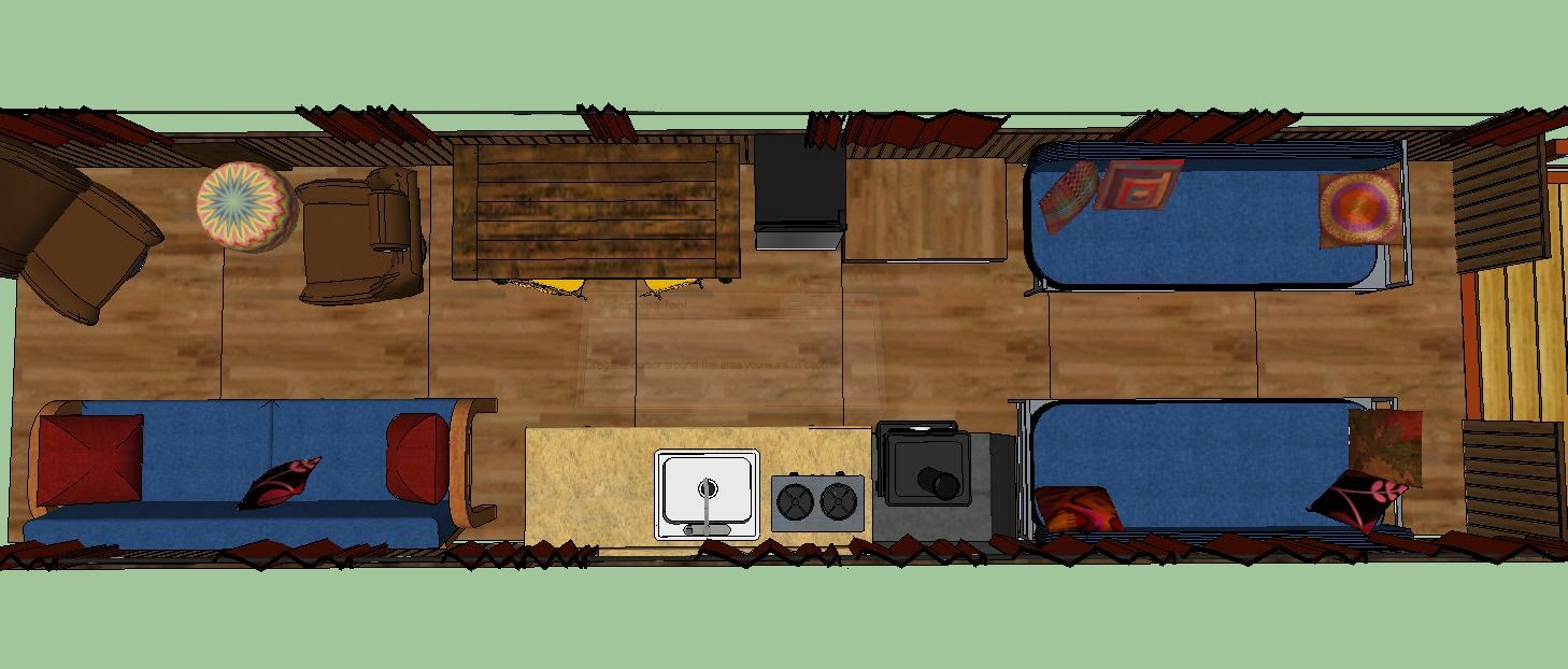 Sweatsville Skoolie SketchUp Lay out and Video