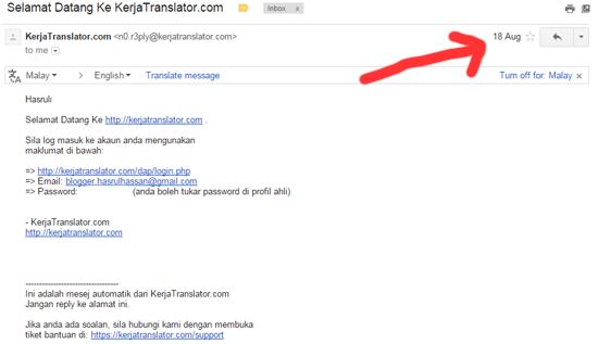 Income Pertama Menerusi KerjaTranslator.com