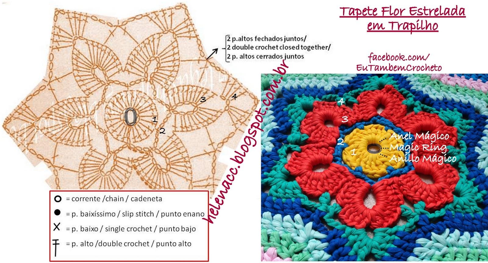 Вязаные прямоугольные коврики крючком со схемами и описанием