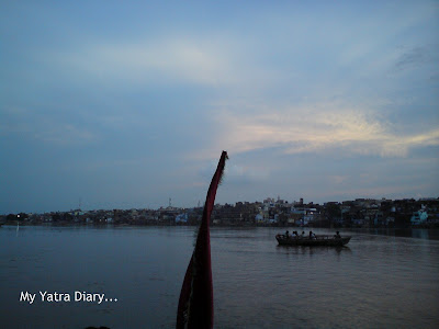 A View of mathura during the Boat ride