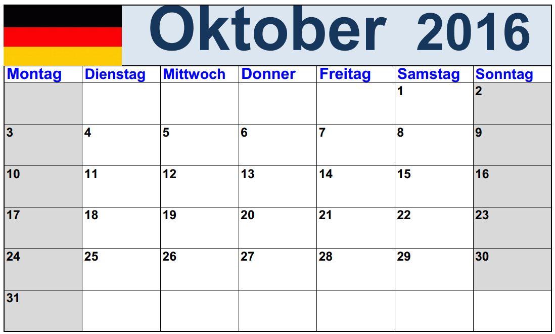 Unbelegter Kalender für Oktober 2016 drucken Juli 2016 Kalender im ...