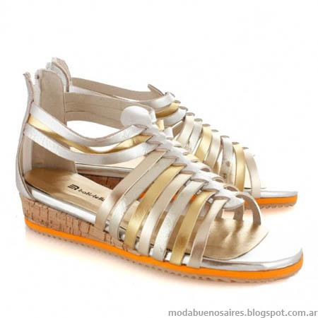Sandalias con tiras doradas y plateadas verano 2014 Batistella.