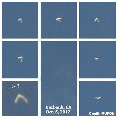 UFO Boomerang Over Burbank, Ca 10-5-12
