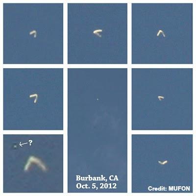 UFO Boomerang Over Burbank, Ca 10-5-12